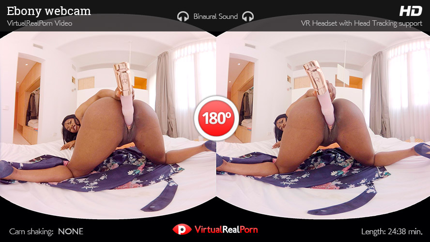VR Ebony Masturbates with Toys and Squirts too!