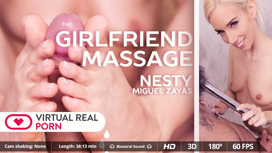 """GFE in VR Porn Video """"Girlfriend Massage"""" starring Nesty - MobileVRXXX"""
