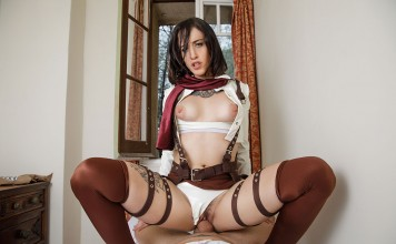 Attack on Titan VR Porn Cosplay starring Lilyan Red as Mikasa Ackerman