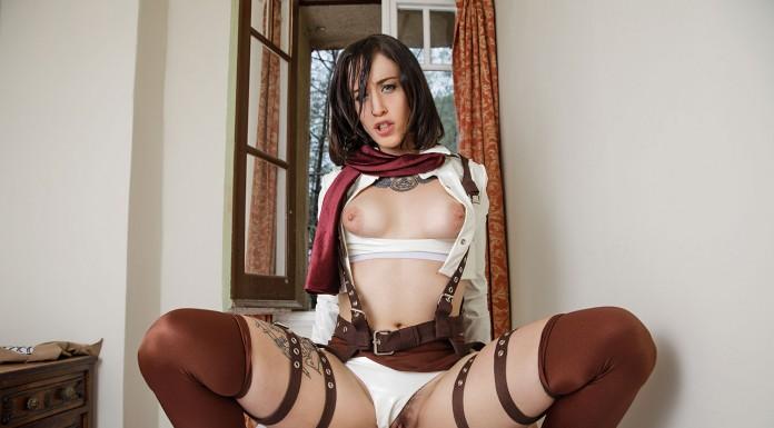 Attack on Titan VR Porn Cosplay starring Lilyan Red as Mikasa Ackerman